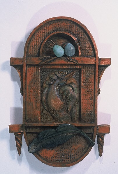 Italianate Box Frame with Bird, Eggs and Feather